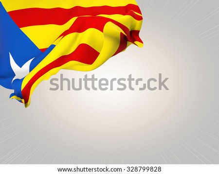 Flag of Catalonia-blue estelada waving over corner page with a light spot background
