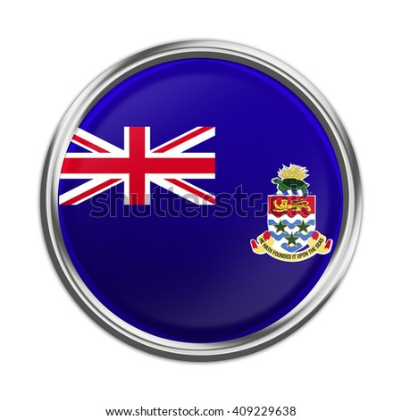 Flag of Cayman Islands as round glossy icon. Button with flag design - stock photo