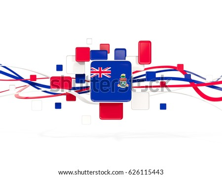 Flag of cayman islands, mosaic background with lines. 3D illustration