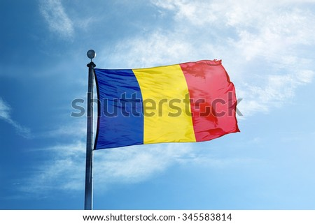 Flag of Chad on the mast