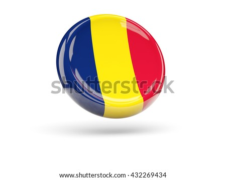 Flag of chad, round icon. 3D illustration