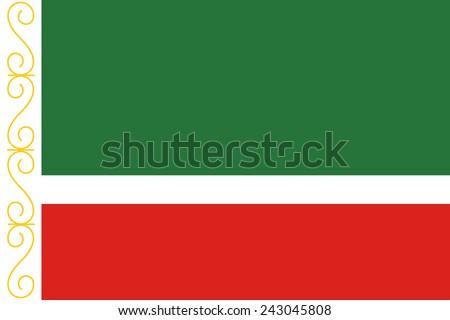 Flag of Chechen Republic, Russia - stock photo