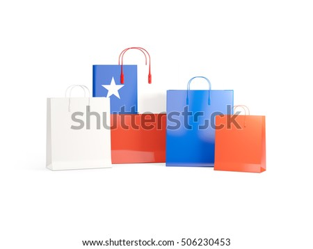 Flag of chile on shopping bags. 3D illustration