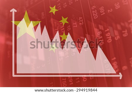 Flag of China. Downtrend stock diagram. - stock photo