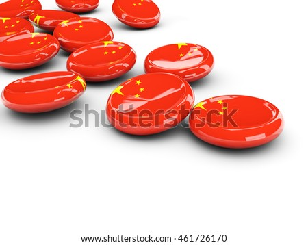 Flag of china, round buttons on white. 3D illustration