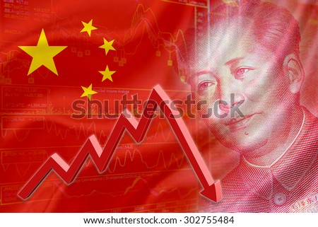 Flag of China with a chart of financial instruments and the face of Mao Zedong on RMB (Yuan) 100 bill. A red downtrend arrow indicates the stock market enter recession period. - stock photo