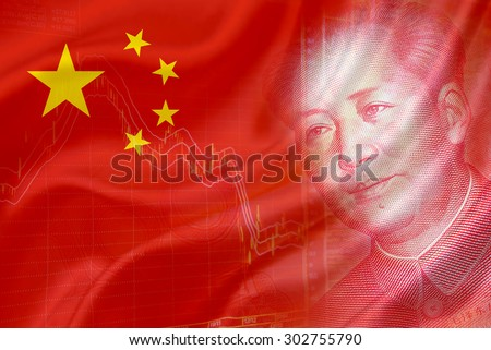Flag of China with a chart of financial instruments and the face of Mao Zedong on RMB (Yuan) 100 bill. - stock photo