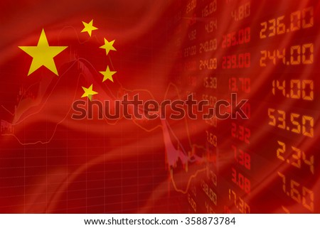 Flag of China with a downtrend chart of financial instruments and a display of daily stock market price and quotations. - stock photo