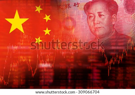 Flag of China with face of Mao Zedong on RMB (Yuan) 100 bill. Downtrend stock diagram - stock photo