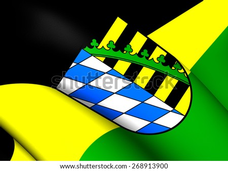 Flag of Coburg District, Germany. Close Up. - stock photo