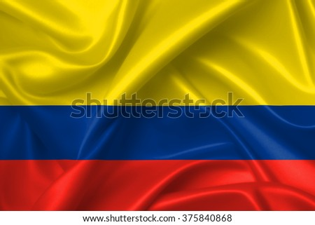 Flag of Colombia 3D, silk texture - stock photo