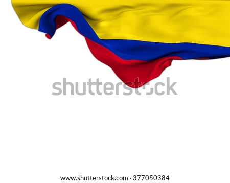 Flag of Colombia moved by the wind, leaning on a white background