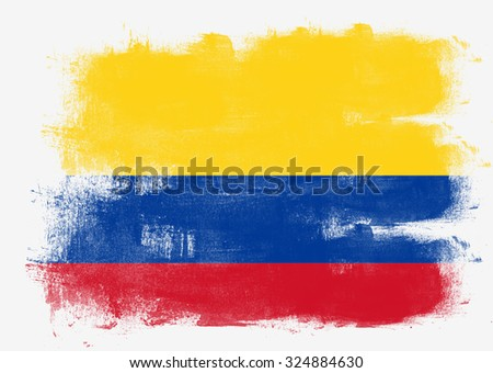 Flag of Colombia painted with brush on solid background,