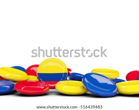 Flag of colombia, round buttons isolated on white. 3D illustration