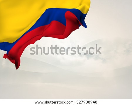 Flag of Colombia waving in the corner of a page with stylized background