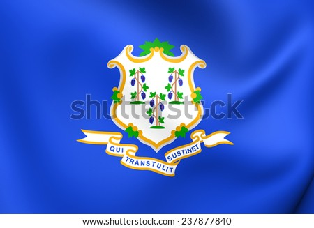 Flag of Connecticut, USA. Close Up.   - stock photo