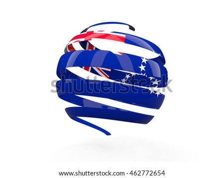 Flag of cook islands, round icon isolated on white. 3D illustration