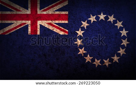 Flag of Cook islands with old texture.  illustration - stock photo