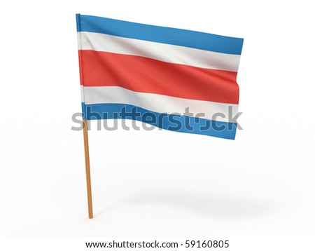 Flag of costa rica . 3d - stock photo