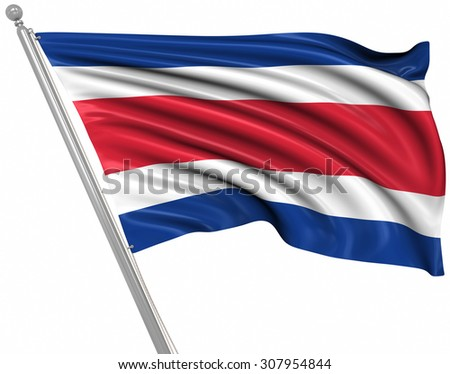 Flag of Costa Rica , This is a computer generated and 3d rendered image.