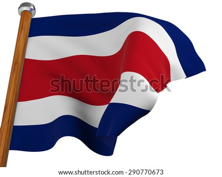 Flag of Costa Rica waving winning on white background