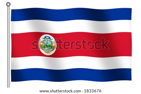 Flag of Costa Rica waving (With Clipping Path) - stock photo