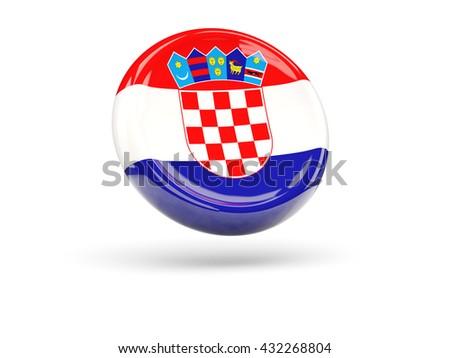 Flag of croatia, round icon. 3D illustration - stock photo