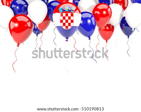Flag of croatia, with balloons frame isolated on white. 3D illustration