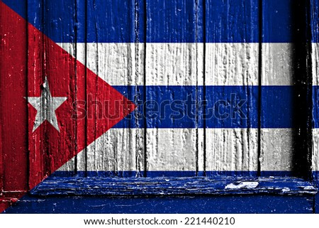 flag of Cuba painted on wooden frame - stock photo