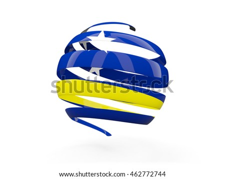 Flag of curacao, round icon isolated on white. 3D illustration