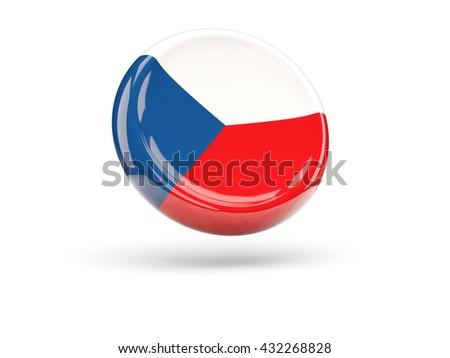 Flag of czech republic, round icon. 3D illustration - stock photo