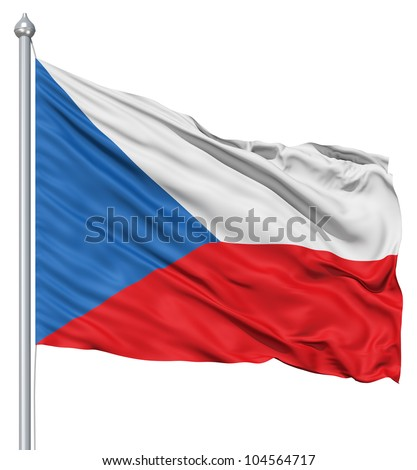 Flag of Czech Republic with flagpole waving in the wind against white background