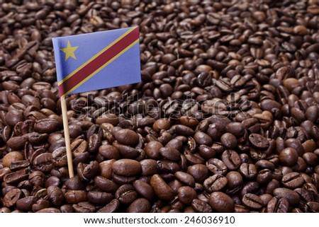 Flag of Democratic Republic of the Congo sticking in roasted coffee beans.(series) - stock photo