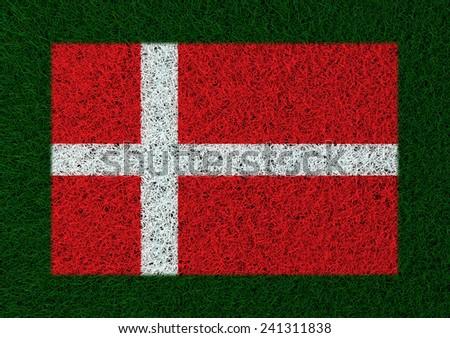 flag of Denmark grass texture - stock photo