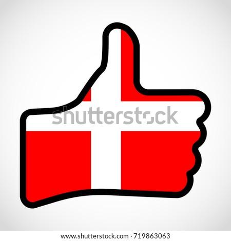 Flag Denmark Shape Hand Thumb Up Stock Illustration 719863063