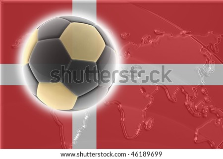 Flag of Denmark, national country symbol illustration sports soccer football - stock photo
