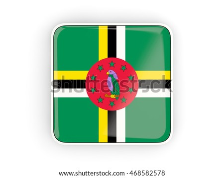 Flag of dominica, square icon with white border. 3D illustration