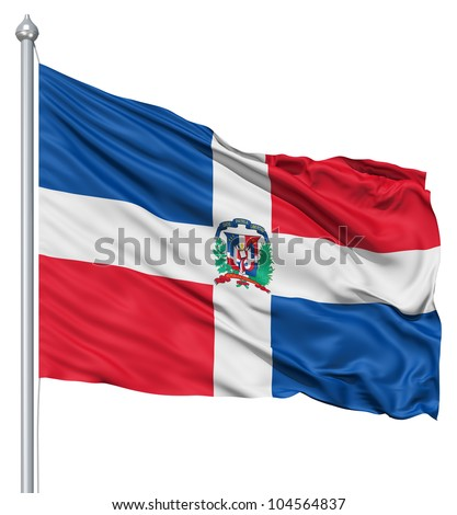 Flag of Dominican Republic with flagpole waving in the wind against white background