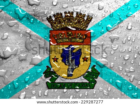 flag of Duque de Caxias with rain drops