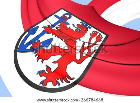 Flag of Dusseldorf, Germany. Close Up.    - stock photo