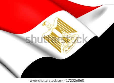 Flag of Egypt. Close Up.   - stock photo