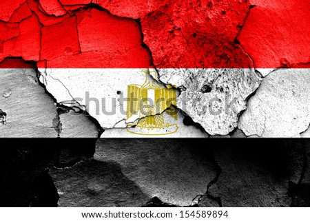 flag of Egypt painted on cracked wall - stock photo