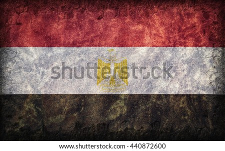 Flag of Egypt painted onto a rough wall - stock photo