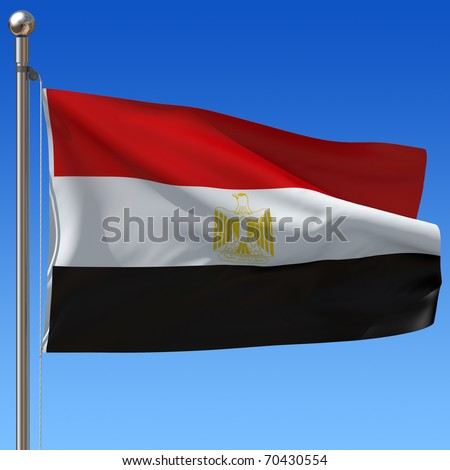 Flag of Egypt with flag pole waving in the wind against blue sky. 3d illustration. - stock photo