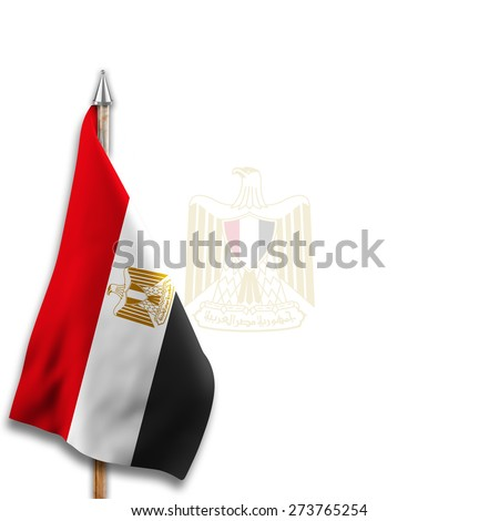 Flag of  Egypt with National emblems  Coat of arms on the background - stock photo