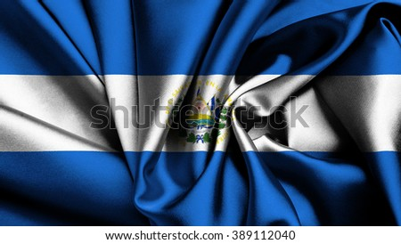 Flag of El Salvador painted on silk material - stock photo