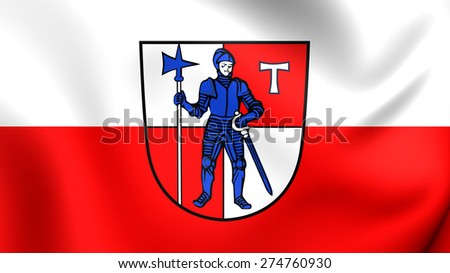 Flag of Eltmann, Germany. Close Up.    - stock photo