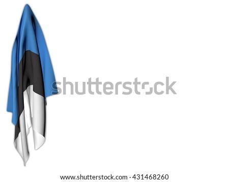 Flag of Estonia hanging on a white background - stock photo