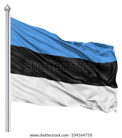 Flag of Estonia with flagpole waving in the wind against white background