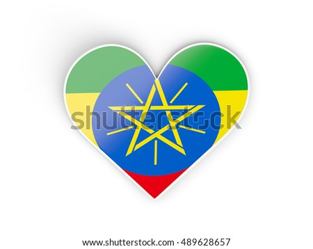 Flag of ethiopia, heart shaped sticker isolated on white. 3D illustration